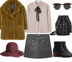 Look # 51 - Fall Outfit Idea-Bow neck shirt -Faux fur coat-Bikerskirt -Studded bucket bag-leather ankle boot-Sunglasses-.Felt Hat | Style Spacez