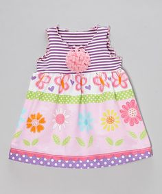 This Pink & Purple Daisy Stripe Swing Top - Toddler & Girls by SILLY MILLY is perfect! #zulilyfinds