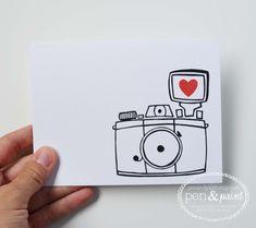Set of Four Camera Folded Note Cards, Stationery, Hand Drawn, Illustration, Photography, Vintage Camera, Diana Mini
