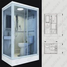 Ceramic Flushing Prefabricated Shower Pod For Bathroom Portable Bathroom, Camper Bathroom, Bathroom Layout, Tiny Bathrooms, Tiny House Bathroom, Small Bathroom, Shower Pods, Wc Compact, Garage Guest House