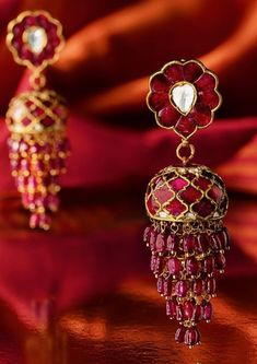 Ruby and diamond Indian earrings