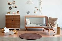 Home Interior:Cool Baby Room Design With Modern Nursery Furniture In Vinatge Style Rectangle Danish Wood Crib And Wooden Nursery Drawer And Chairs Baby Room Designs and Beautiful Decorating Baby Nursery Ideas Nursery Room, Kids Bedroom, Bedroom Decor, Kids Rooms, Room Baby, Baby Rooms, Nursery Decor, Woodsy Nursery, Bedroom Ideas