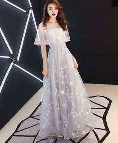 Gray tulle lace long prom dress gray tulle Prom Dresses Under 100, Cheap Prom Dresses, Bridesmaid Dresses, Formal Dresses, Korean Dress Formal, Asian Prom Dress, Lace Evening Dresses, Tulle Lace, Dress Lace