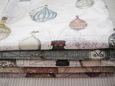 Set for 5 Cotton Linen Fabric BUNDLE Vintage World by fabricmade, $19.00
