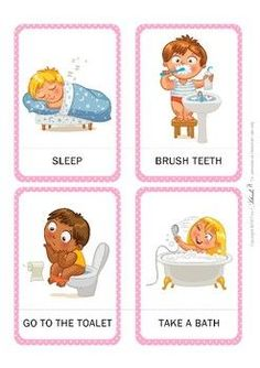Daily Routine Flashcards These are great cards for teaching students about daily activities, but you Daily Routine Kids, Daily Routine Activities, Everyday Activities, Activities For Kids, Toddler Routine, Health Activities, Flashcards For Kids, Education Positive, Action Verbs