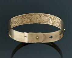 Antique Victorian 14k Rose Gold Hand Engraved Adjustable Bangle Bracelet on Etsy, $975.00