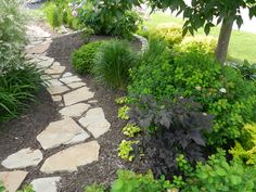Sandstone garden path in mulch -- Not a bad job, if I do say so myself!