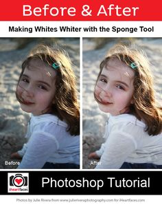 How to Make Whites Whiter with the Sponge Tool - Photoshop Tutorial by Julie Rivera Photography for iHeartFaces.com