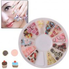 $1.51 New Lollipop and Cake Shape Nail Sticker with Round Turning Case for Nail Art