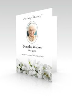 Funeral Stationery Order of Service Booklet with Flower Design featuring snowdrops Funeral Order Of Service, Memorial Service Program, Make A Flyer, Funeral Flowers, Watercolor Cards, Creative Crafts, Booklet, Flower Designs, Service Design