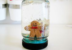 Baby food jar snow globe...Used to make this when I was little - glad to find this craft again!