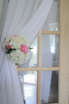 Silk hydrangeas used to tie back our beautiful draping voile Canopy Lights, Hydrangeas, Draping, Chandelier, Curtains, Tie, Beautiful, Home Decor, Candelabra