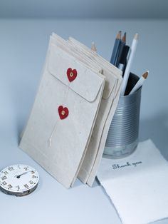 Handmade Paper Heart Envelopes--could make with any shape!