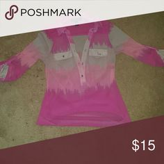 💕SALE💕Sheer ombre half button up blouse Pink tan light pink and pink ombre sheer top....GUC Buttons are jewels and the button on one pocket is falling off but could easily be sewn back on. . So cute! ✅Make an offer through OFFER button ONLY ✅Negotiations welcome 🚫No trades 🚫No PayPal INC International Concepts Tops Blouses