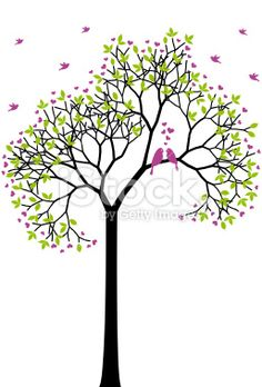 spring tree with love birds, vector Royalty Free Stock Vector Art Illustration