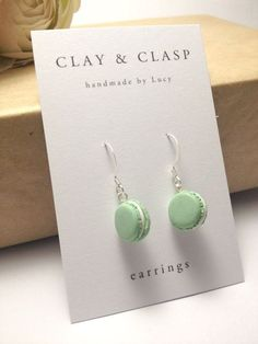 Dangly Macaron Earrings - beautiful handmade polymer clay jewellery by Clay & Clasp - http://www.diyprojectidea.net/dangly-macaron-earrings-beautiful-handmade-polymer-clay-jewellery-by-clay-clasp