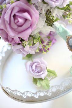 Mor - mint düğün buketi