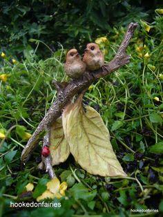 Birds On Twig Branch for  Miniature Garden