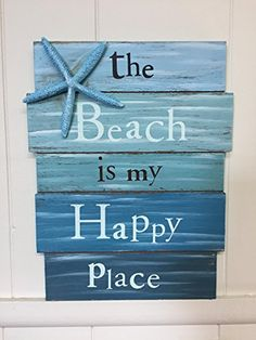 The Beach Is My Happy Place Plank Board Wooden Sign with Blue Starfish Accent Home Decor Wall Art Beach House Decor 12 X 9 ** Visit the image link more details. #WoodHomeDecor
