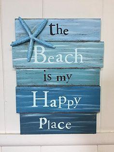 house decor diy Blue Starfish The Beach Is My Happy Place Wooden Beach House Decor Sign Beach Cottage Style, Beach Cottage Decor, Coastal Decor, Beach Theme Garden, Beach Room Decor, Lake Cottage, Decor Room, Beach Bathrooms, Beach Crafts