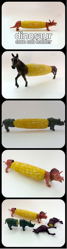 DIY Corn Holders. Take an old plastic toy and add the corn holder on the inside. We like the rhino best!