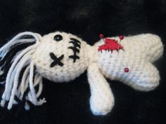 Crochet Voodoo Doll Creepy Soft Pin Cushion Whimsical by ZogPalz, $15.00