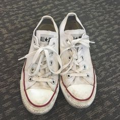 White converse low top The classic white low top. Super comfortable I just don't like owning white shoes! Make an offer. Converse Shoes Athletic Shoes