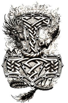 S hammer tattoo ideas шаблон тату, тату ve татуировки. Tattoo Thor, Thor Hammer Tattoo, Norse Tattoo, Celtic Tattoos, Viking Tattoos, Lone Wolf Tattoo, Shield Tattoo, Armor Tattoo, Warrior Tattoos