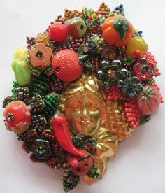 Huge Pin Ian St Gielar Stanley Hagler N Y C Harvest Pin Brooch Fabulous | eBay