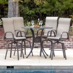 Madison Bay 4 Person Sling Patio Bar Set By Lakeview Outdoor Designs