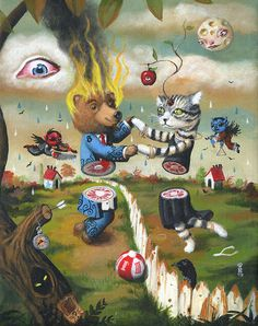 Mark Brown Mark Brown, Surreal Artwork, Brown Art, Lowbrow Art, Creepy Cute, Pop Surrealism, Weird Art, Animal Drawings, Cat Art