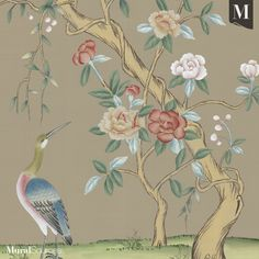 With brilliant bright colors that compliment each other, Jinan Sand can enhance any room for each unique design need. Ed Design, Chinoiserie Wallpaper, Oriental Design, Gold Walls, New Wallpaper, Bird Prints, Textile Design, Powder Room, Bright Colors