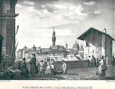 1850: View of Firenze from Ponte alle Grazie. It is still visible the old Tiratoio sull'Arno.
