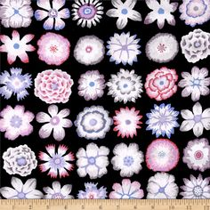 Kaffe Fassett Button Flowers Black from @fabricdotcom  Designed by Kaffe Fassett for Free Spirit Fabrics in association with Westminster/Rowan, this cotton print is perfect for Quilting, Apparel, and Home Decor Fabrics. Kaffe Fassett is known for bold use of color and designs in his work that is sure to give your next project a pop of color! Colors include black, pink, purple, grey, and white.