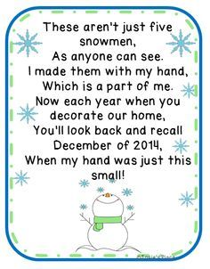 FREE Five Snowmen Poem and ornament idea!