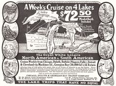 Chicago, Duluth & Georgian Bay Transit Company. 112 W. Adams Street, Chicago, Illinois. 16 E. Eagle Street, Buffalo, New York. A week's cruise on 4 lakes. The Great White Liners: North American and South American. Cruises weekly from Chicago, Duluth, Buffalo (Niagara Falls), Detroit & Cleveland via Mackinac Island, Georgian Bay (30,000 Islands) and return. The lake trips that have no equal. Great Lakes (Superior, Huron, Michigan, Erie, Ontario) cruise...