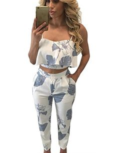 e65b36209c8c FANCYINN Women 2 Pieces Jumpsuit Romper Spaghetti Strap Top + Long Pants  Casual Style M 2