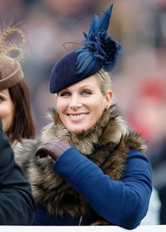 Zara Phillips Tindall attended the third consecutive day of racing at the Cheltenham Festival and used the occasion to début another new hat. This navy cocktail hat is described by the designer as . Gatcombe Horse Trials, Zara Phillips, Crazy Hats, Cocktail Hat, Fascinator Hats, Millinery Hats, Fancy Hats, Crown Princess Victoria, Love Hat