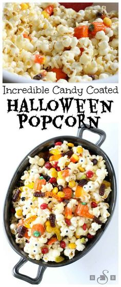 Halloween Popcorn is the perfect snack for the fall - you can't go wrong combining buttery popcorn and Halloween candy! halloween treats HALLOWEEN POPCORN - Butter with a Side of Bread Halloween Party Snacks, Halloween Desserts, Halloween Fingerfood, Postres Halloween, Recetas Halloween, Soirée Halloween, Halloween Popcorn, Hallowen Food, Halloween Goodies