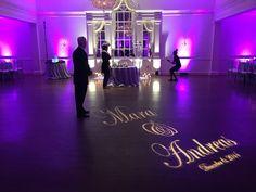 Wedding Reception At Bethesda Ballroom With Purple Uplighting And Custom Gobo