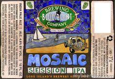 Cerveja Blue Point Mosaic Session IPA, estilo Session IPA, produzida por Blue Point Brewing Company, Estados Unidos. 4.8% ABV de álcool.
