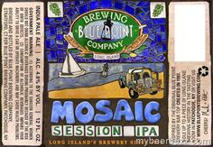 Cerveja Blue Point Mosaic Session IPA, estilo Session IPA, produzida por Blue Point Brewing Company, Estados Unidos. 4.8% ABV de álcool.