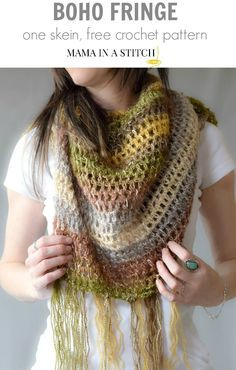 "One Skein Crochet ""Boho Shawl"" Pattern! This shawlette can double as a scarf, but check out how to looks as a cute little shawl as well! #freepattern #oneskein #easy"