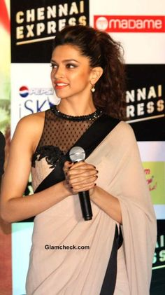Deepika Padukone in Sari at Chennai Express Promo