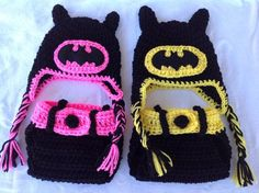Crochet batman Boys and Girls Nappy Covers and Hats!