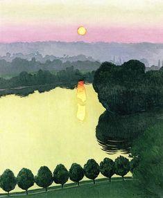 Les Andelys, Evening - Felix Vallotton - The Athenaeum Art And Illustration, Illustrations, Abstract Landscape, Landscape Paintings, Abstract Art, Paul Gauguin, Henri Rousseau, Henri Matisse, Art Français