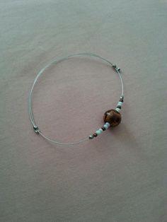 Bracelet perle en bois + cable
