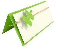 Tischkarte aus dem Set Green Puzzle, Tischkärtchen, Namenskärtchen, Platzkarte, Tischordnung, place card, papercraft, wedding stationary, stationary, Papeterie, Hochzeitspapeterie, puzzle, Puzzleteil, green, grün, KartenWerk