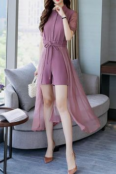 Buy Chicoth Chiffon Paneled Shirt Collar Ruffled Detail Date Jumpsuit,Cheap Womens Casual Pants,Cheap Jumpsuits and Rompers. Frock Fashion, Fashion Pants, Hijab Fashion, Korean Fashion, Fashion Dresses, Indian Designer Outfits, Designer Dresses, Stylish Dresses, Casual Dresses