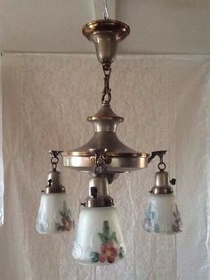 Antique Victorian Pan Chandelier Pewter and Brass by AntiqueLights